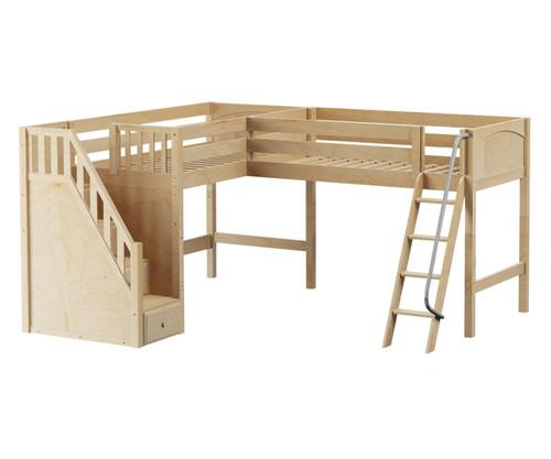 Maxtrix DOS Corner Mid Loft Bed Twin Size Natural