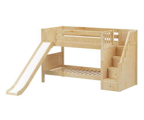 Maxtrix SNIGGLE Low Bunk Bed with Stairs and Slide Twin Size Natural