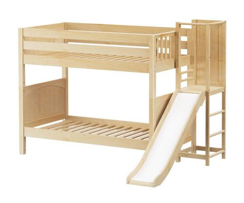 Maxtrix GAP Medium Bunk Bed with Slide Platform Twin Size Natural