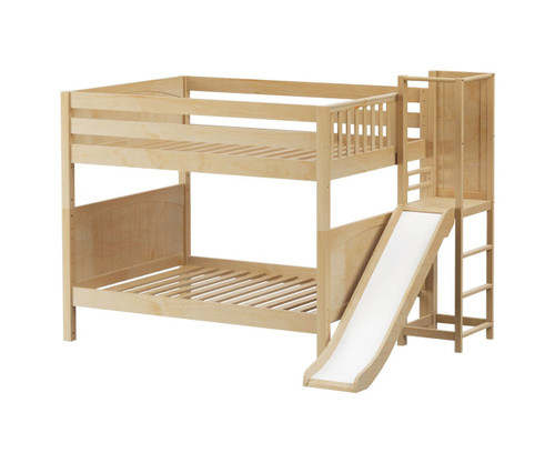 Maxtrix DOMAIN Medium Bunk Bed with Slide Platform Full Size Natural