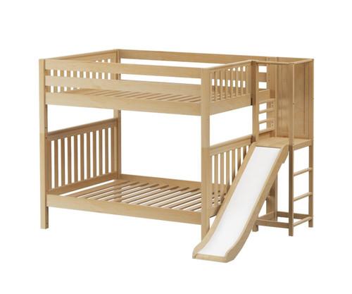 Maxtrix GAMUT High Bunk Bed with Slide Platform Full Size Natural