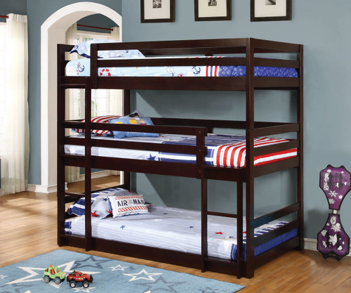 Sandler Triple Bunk Bed Twin Size Cappuccino