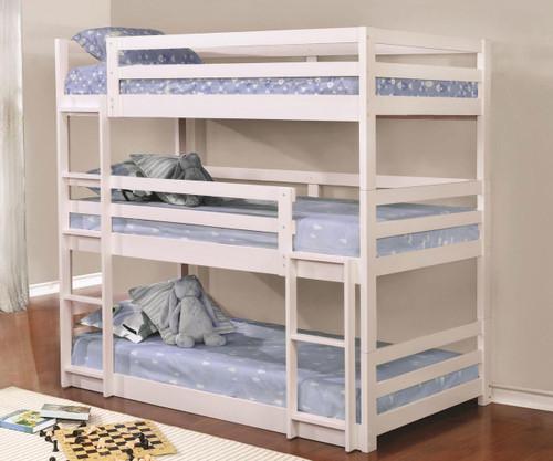 Sandler Triple Bunk Bed Twin Size White
