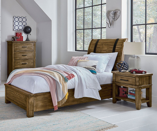 Nelson Sleigh Bed Twin Size Toffee