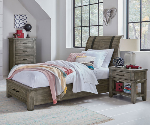 Nelson Storage Sleigh Bed Twin Size Grey