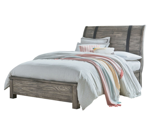 Nelson Sleigh Bed Full Size Grey