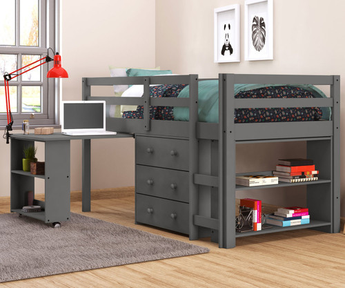 Donco Low Loft Bed with Desk and Storage Twin Size Grey