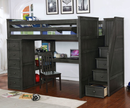 Allen House Study Loft Bed with Stairs Full Size Weathered Dark Gray