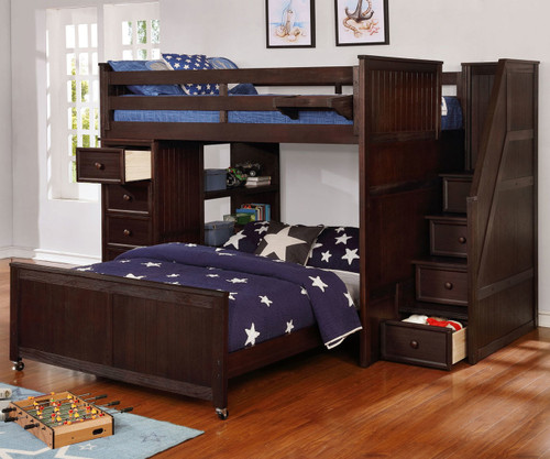 Allen House Full over Full Storage Loft Bed with Stairs Weathered Espresso