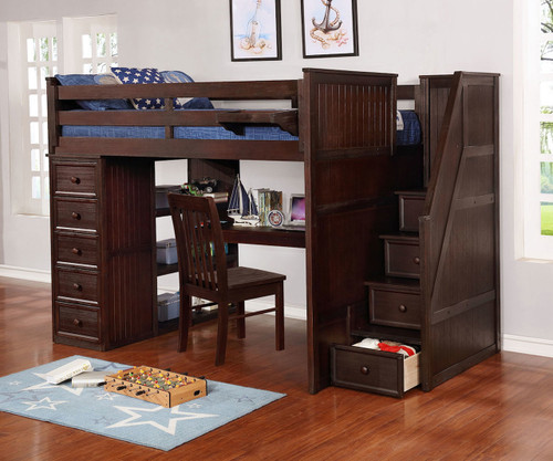 Allen House Study Loft Bed with Stairs Full Size Weathered Espresso