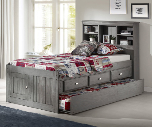 Westport Gray Twin Bookcase Captains Trundle Bed