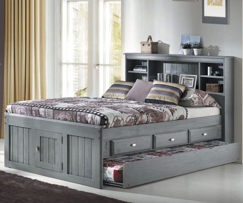 Westport Gray Full Bookcase Captains Trundle Bed