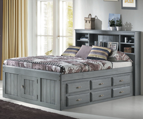 Westport Gray Full Bookcase Captains Bed