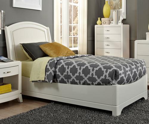 Avalon Leather Platform Bed Twin Size White Truffle