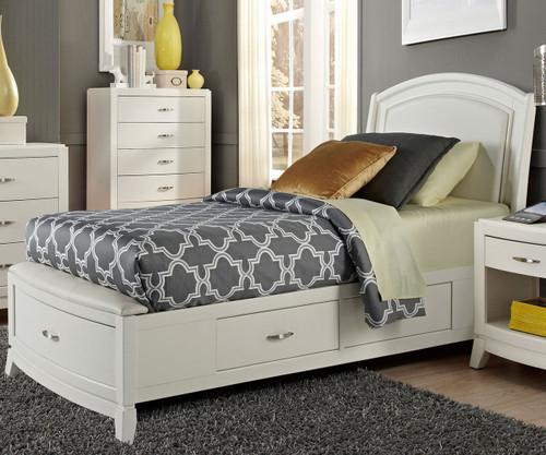 Avalon Leather Storage Bed Twin Size White Truffle