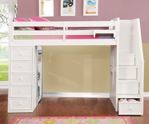 Allen House  Loft Bed with Stairs Twin Size White