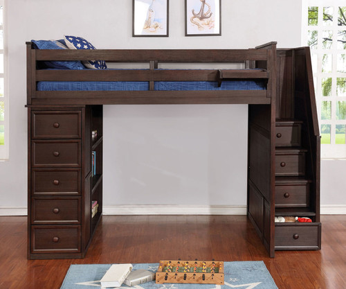 Allen House  Loft Bed with Stairs Twin Size Weathered Espresso
