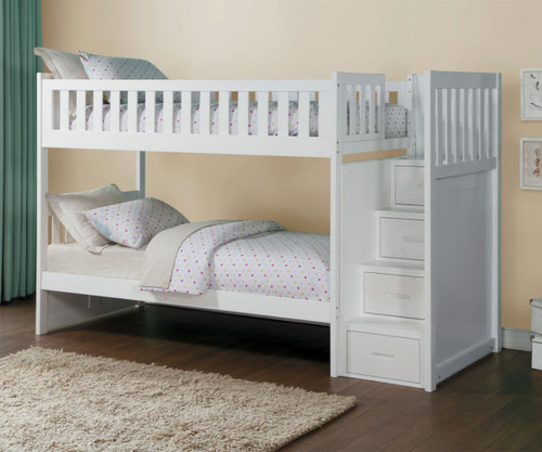 Stanford Stair Bunk Bed White