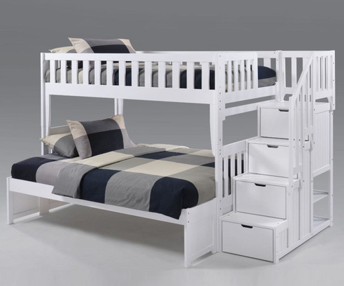 Crestwood Twin over Full Bunk Bed with Stairs White
