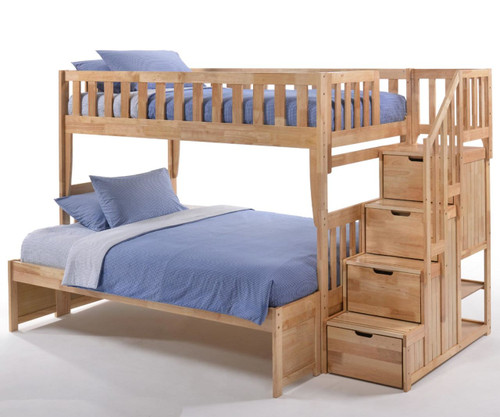 Crestwood Twin over Full Bunk Bed with Stairs Natural