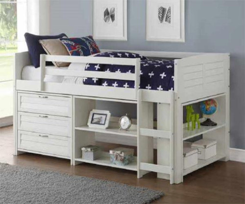 Amherst Low Loft Bed with Chest and Bookcases White
