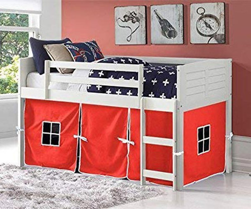 Amherst Low Loft Bed with Red Tent White