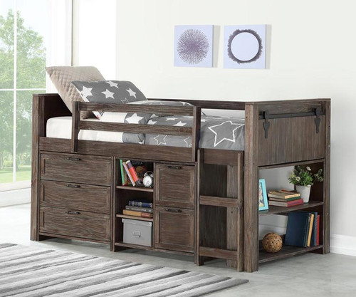 Barnum Low Loft Bed with Chests and Bookcase