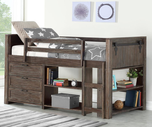 Barnum Low Loft Bed with Chest and Bookcases