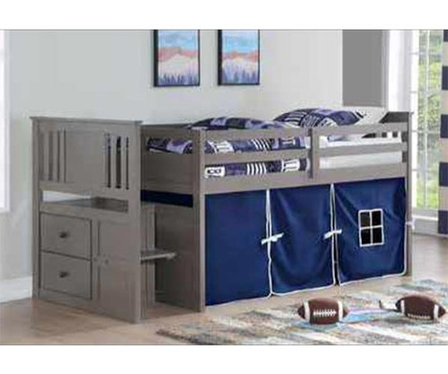 Harrington Stairway Low Loft Bed with Blue Tent