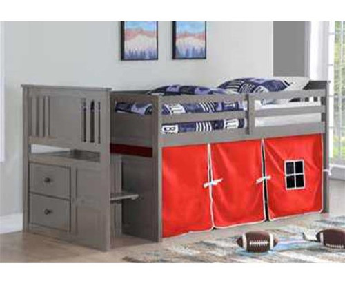 Harrington Stairway Low Loft Bed with Red Tent