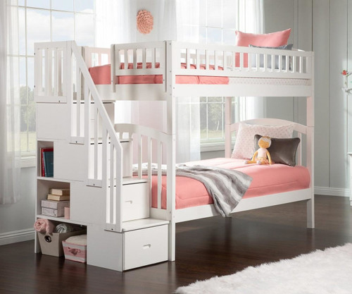 Westbrook Stair Bunk Bed Twin over Twin White