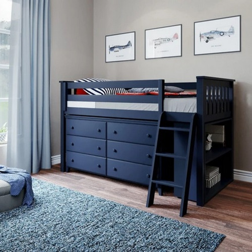 Jackpot Low Loft Bed with Dresser and Bookcase Blue