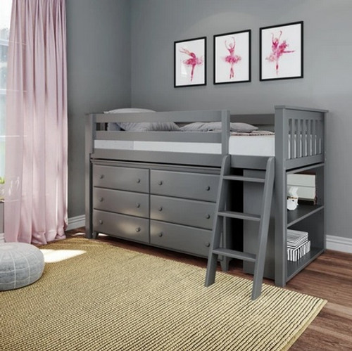 Jackpot Low Loft Bed with Dresser and Bookcase Grey