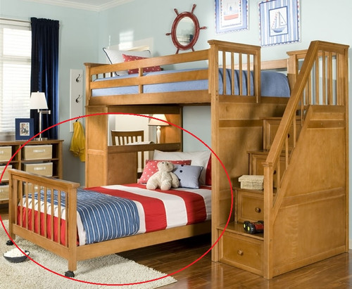CLEARANCE School House Full Bottom Bed Only - Pecan