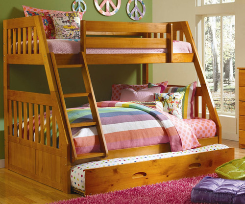 Discovery World Furniture Twin Over Full Honey Bunk 2118 Bed Kids Bedroom Furniture In Orlando Florida Twin Over Full Bunkbeds With Storage Drawers And Kids Trundle Beds For Kids At Kids Furniture