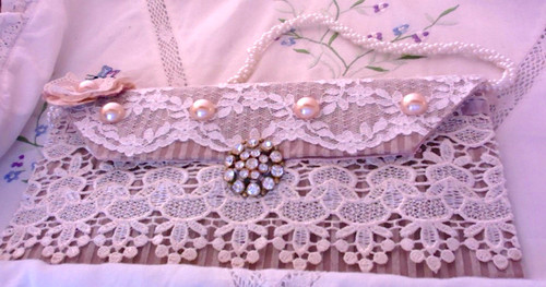 Lace & Pearl Clutch Front