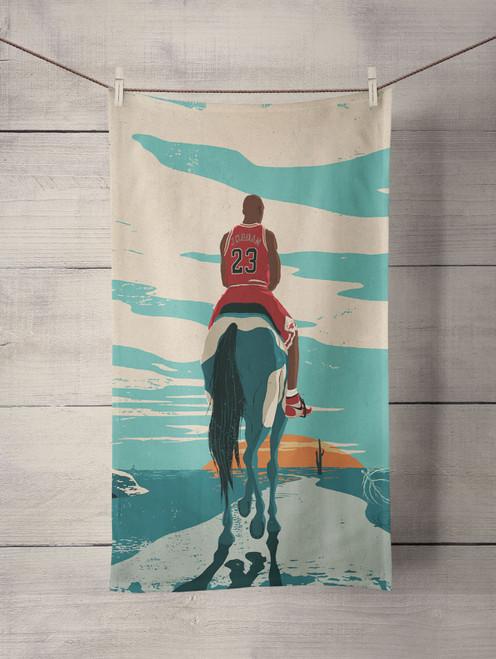 jordan riding horse michael jordan Custom Towel
