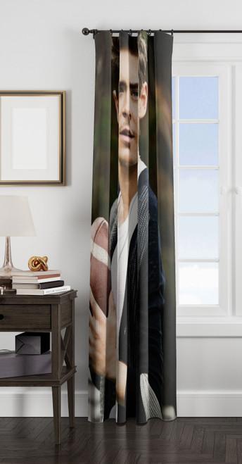 zac efron holding football 1 window Curtain