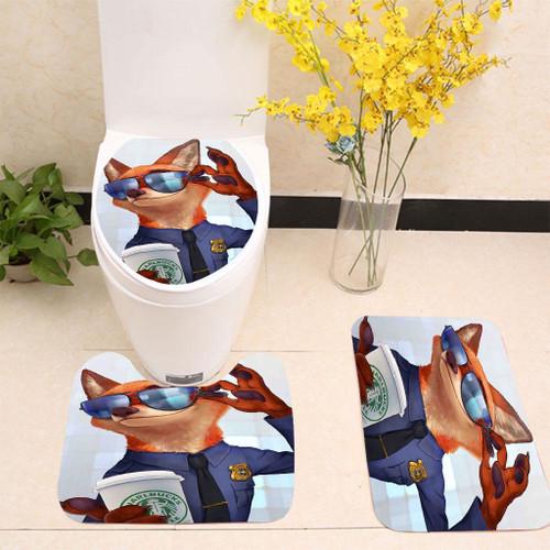 Zootopia Starbucks Coffee Toilet cover set up
