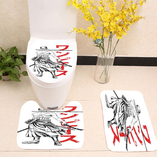 Zoro Pirate Hunter One Piece Anime Toilet cover set up