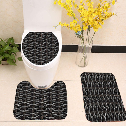 GOYARD PARIS BLACK PATTERN Toilet cover set up