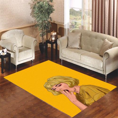 yellow beautiful girl Living room carpet rugs