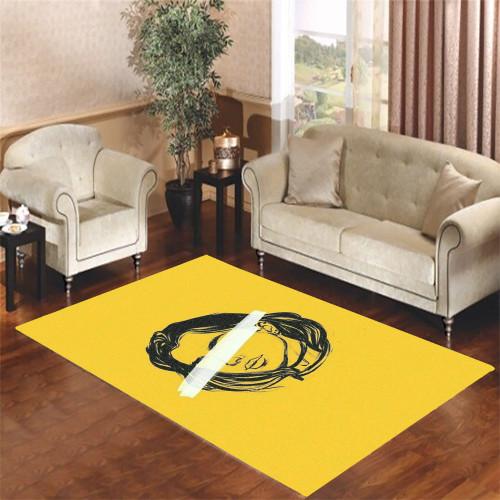 yellow girl aesthetic Living room carpet rugs