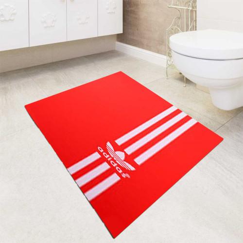 Red white Vertical Adidas bath rugs