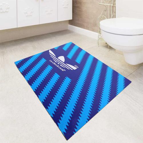 Turquoise blue white Adidas bath rugs