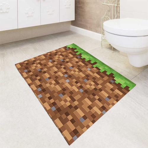 minecraft grass block bath rugs
