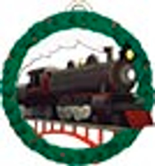 Train Engine Printed Ornament by Maple Landmark