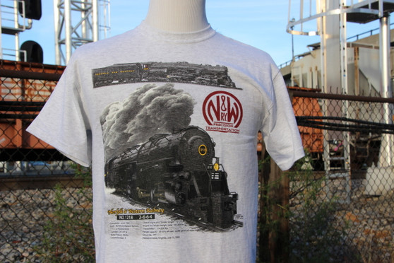 N&W 1218 t-shirt is available in adult and youth sizes.