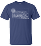 611 Technical Print T Shirt in Blue