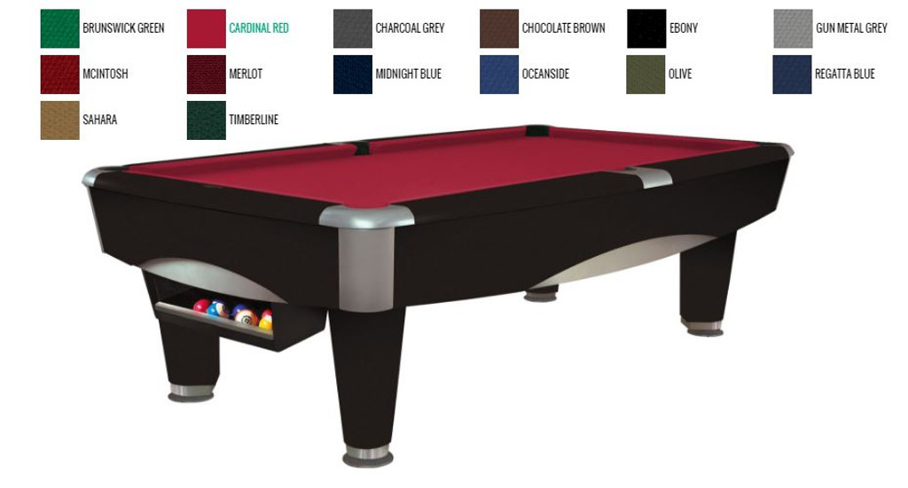 This 8' Metro Pool Table is displayed using  Cardinal Red Centennial Cloth